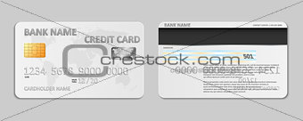 Realistic white bank credit card template isolated. Bank plastic credit card mockup with chip and world map for banking. Vector illustration