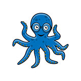 Blue octopus with glasses