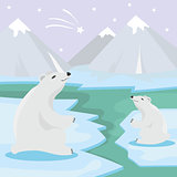 International Polar Bear Day poster. Illustration of cute Polar Bears
