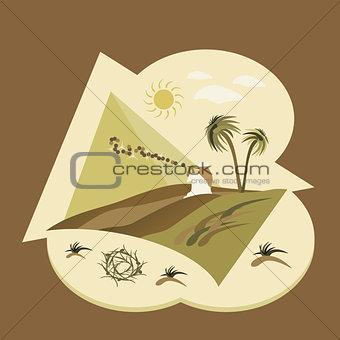 Asia, desert, flat design