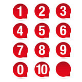 Number set red vector label