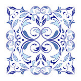 Oriental vector square ornament with arabesques elements