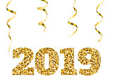 Happy new 2019 year. Gold glitter particles and sparkles. Holidays vector design element for calendar, party invitation, card, poster, banner, web