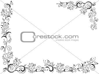 Greeting card with floral frame