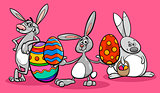 bunnies and easter eggs cartoon illustration