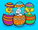 Easter bunny and chickens cartoon illustration