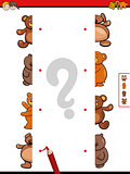 match teddy bears halves cartoon game