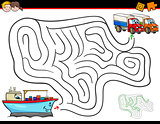 cartoon maze activity with ship and trucks