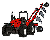 The red tractor with a plow