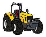 The yellow small tractor