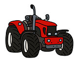 The red small tractor
