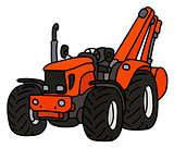 The small tractor with an excavator