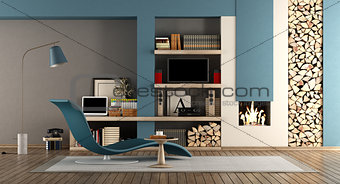 Blue and brown living room with fireplace