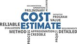 word cloud - cost estimate