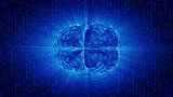 Blue glowing brain wired on neural surface or electronic conduct