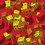 Red Orange Yellow Dice Seamless Pattern