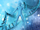 3D medical background with male figure on DNA strands background