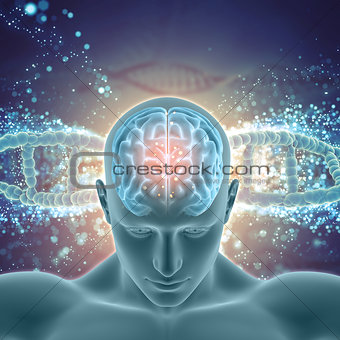 3D medical background with male figure with brain highlighted on