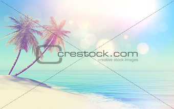 3D retro styled tropical landscape with palm trees