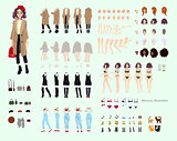 Animate character. Young lady character constructor. Different woman postures, hairstyle, face, legs, hands, clothes, accessories collection. Vector cartoon illustration.