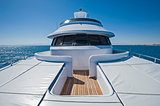 View from bow of a large luxury motor yacht