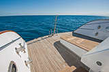 Stern deck of a large luxury motor yacht