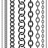 Chains set of different scale, unusual polygonal shape, seamless vertical pattern, black silhouette vector illustration.