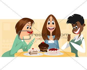 Three women and desserts