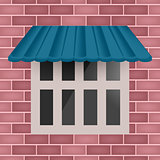 Vector blue awning on window