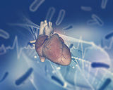 3D medical background with heart on abstract background