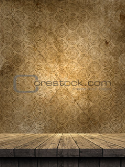 3D wooden table against a grunge damask style wallpaper