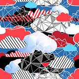 Seamless bright pattern from different clouds