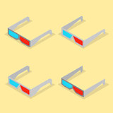 Set of paper 3d glasses in isometric, vector illustration.