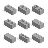 Set of isometric cinder blocks, vector illustration.