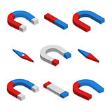 Set of magnets in 3D, vector illustration.