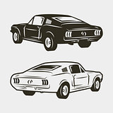 muscle car isolated on white background. vector illustration