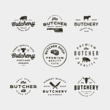 set of vintage butchery logos. retro styled meat shop emblems. vector illustration