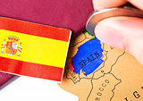 Travel holiday to Spain concept with passport