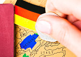 Travel holiday to Germany concept with passport