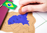 Travel holiday to Brazil concept with passport
