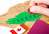 Travel holiday to Canada concept with passport