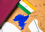 Travel holiday to India concept with passport