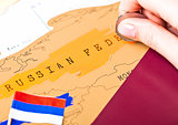 Travel holiday to Russia concept with passport