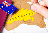 Travel holiday to Australia concept with passport