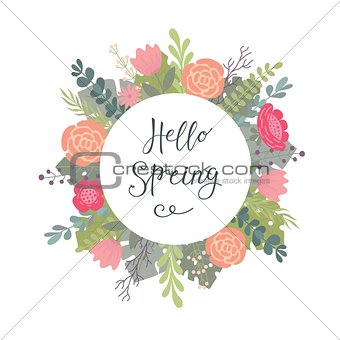 Hand lettering typographic drawing with a phrase Hello spring and decorative flower background.