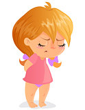 Sad toddler girl cartoon vector image