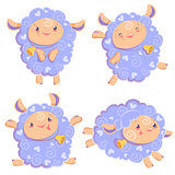 Vector illustration clipart set of cute funny pink girl sheep dancing running jumping staying with bell for kids and babies print and textile design, wall design, stickers, art