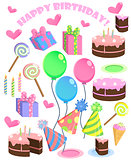 Set of vector birthday cartoon party elements