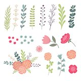 Big set of green leaves, twigs and flowers. Design elements designer