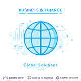 Global solutions symbol on white.